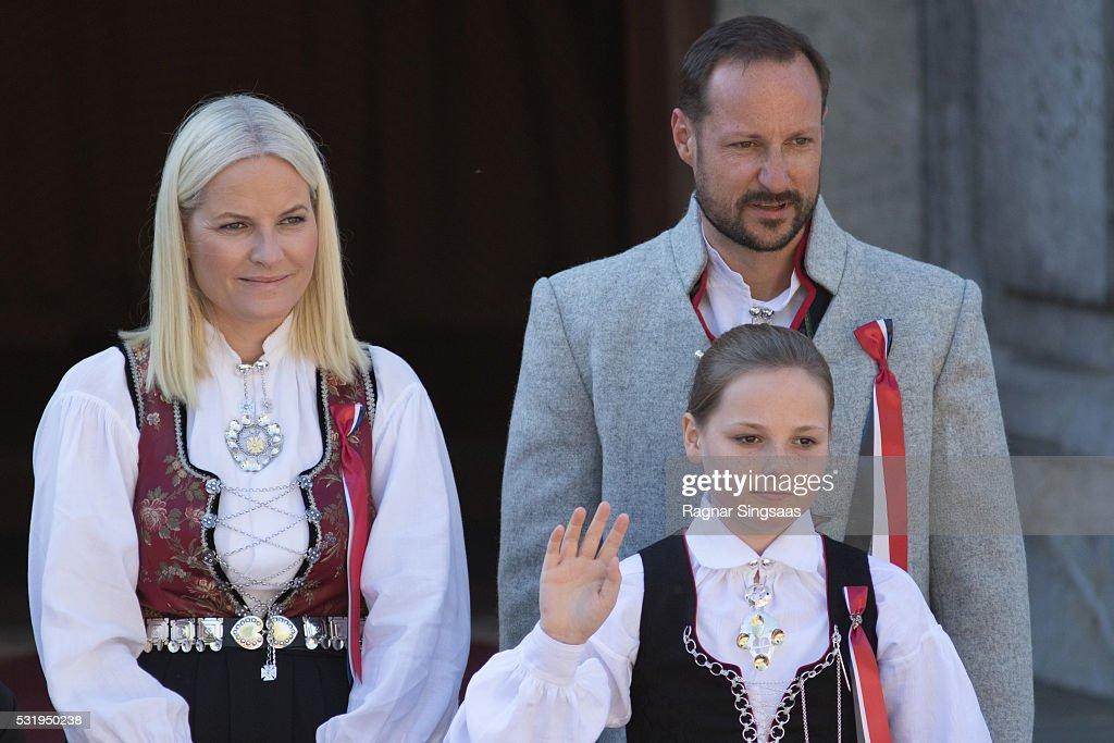 Crown Princess Mette-Marit of Norway, Princess Ingrid Alexandra of Norway and Crown Prince Haakon of Norway celebrate National Day on May 17, 2016 in Asker, Norway.