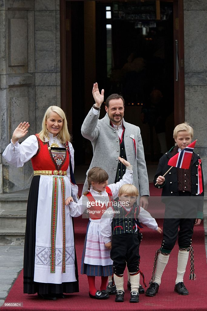 Crown Princess Mette-Marit of Norway, Princess Ingrid Alexandra of Norway, Crown Prince Haakon of Norway, Prince Sverre Magnus of Norway and Master Marius Borg Hoiby attend The Children's Parade on Norway's National Day on May 17, 2010 in Asker, Norway.