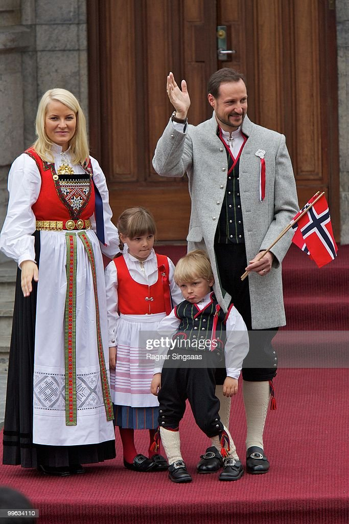 Crown Princess Mette-Marit of Norway, Princess Ingrid Alexandra of Norway, Prince Sverre Magnus of Norway and Crown Prince Haakon of Norway attend The Children's Parade on Norway's National Day on May 17, 2010 in Asker, Norway.