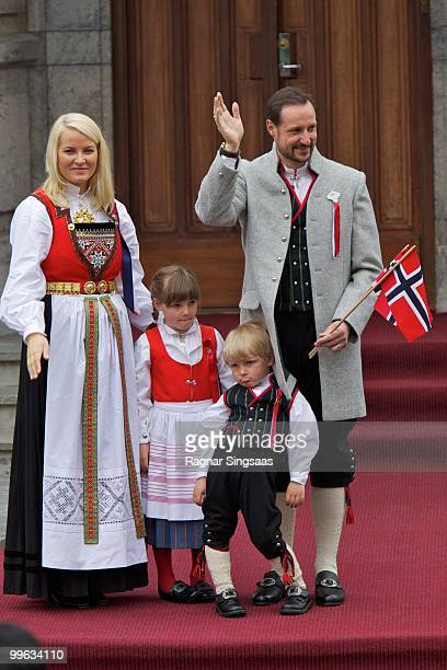 Crown Princess Mette-Marit of Norway, Princess Ingrid Alexandra of Norway, Prince Sverre Magnus of Norway and Crown Prince Haakon of Norway attend...