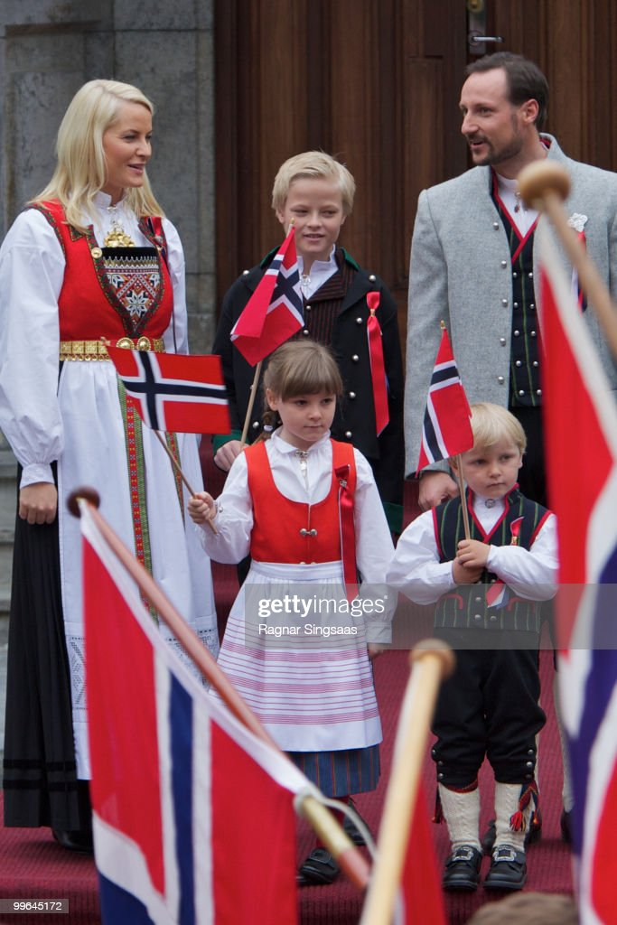 Crown Princess Mette-Marit of Norway, Princess Ingrid Alexandra of Norway, Marius Borg Hoiby, Prince Sverre Magnus of Norway and Crown Prince Haakon of Norway attend The Children's Parade on May 17, 2010 in Asker, Norway.