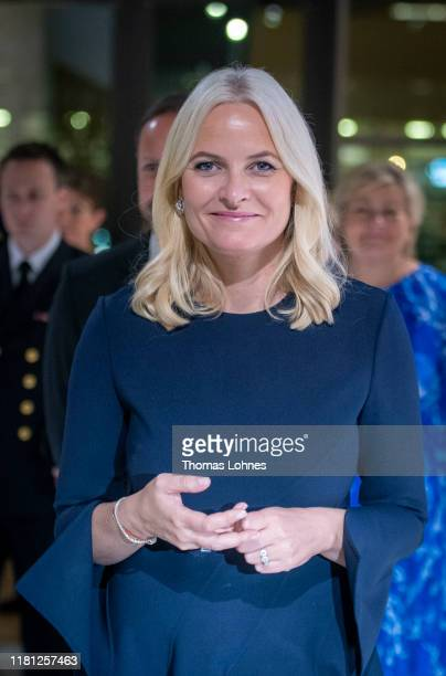 Crown Princess Mette-Marit of Norway visits the exhibition of this year's honorary guest Norway during the opening ceremony at the Frankfurt Book...