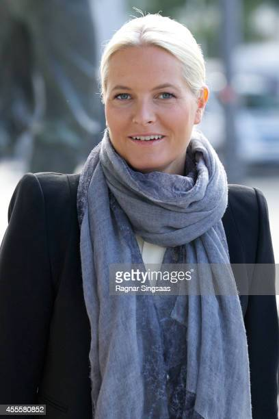 Crown Princess MetteMarit of Norway visits the 'Kaleidoscope' exhibition in Oslo Town Hall on September 17 2014 in Oslo Norway