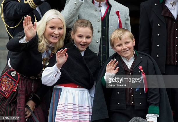 Crown Princess MetteMarit of Norway with Princess Ingrid Alexandra and Prince Sverre Magnus watch the traditional morning children's parade at their...