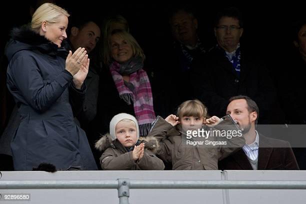 Crown Princess Mette-Marit, Prince Sverre Magnus, Princess Ingrid Alexandra and Crown Prince Haakon Magnus attend the Molde v Aalesund Norwegian...