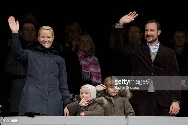 Crown Princess MetteMarit Prince Sverre Magnus Princess Ingrid Alexandra and Crown Prince Haakon Magnus attend the Molde v Aalesund Norwegian...