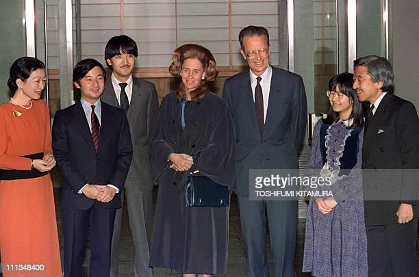 Crown Princess Michiko Prince Hiro Hito Prince Aya Queen Fabiola and King Baudouin of Belgium Princess Nori and Crown Prince Akihito pose for the...