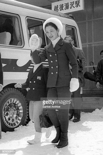 Crown Princess Michiko waves at Naeba International Ski Resort on March 27 1970 in Yuzawa Niigata Japan