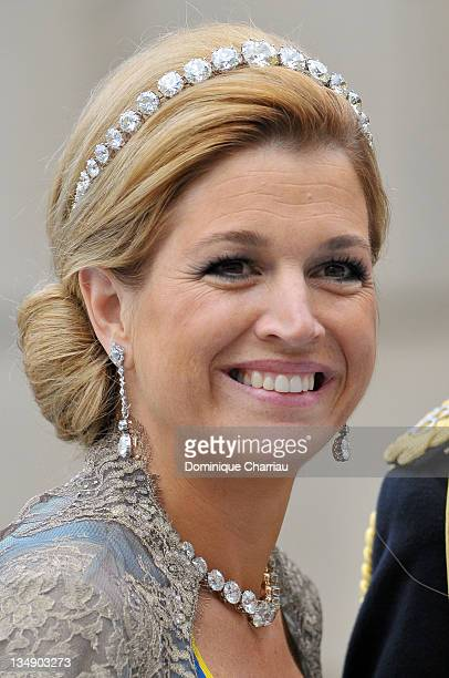 Crown Princess Máxima of the Netherlands attends the wedding of Crown Princess Victoria of Sweden and Daniel Westling on June 19 2010 in Stockholm...