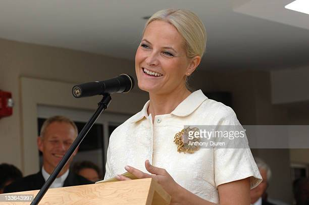 Crown Princess of Norway MetteMarit attends a ribbon cutting ceremony at Kronprinsesse MetteMarits Kirke Scandinavian Church Center on November 20...