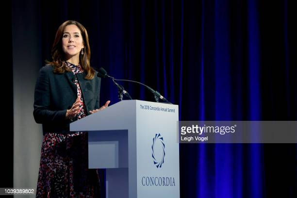 Crown Princess of the Kingdom of Denmark Her Royal Highness Crown Princess Mary of Denmark speaks onstage during the 2018 Concordia Annual Summit -...