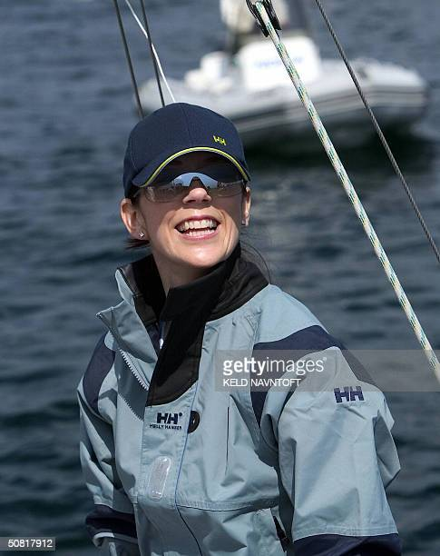 Crown Princess to be Australian Mary Donaldson smiles during the Royal Match Race at Langelinie wharf off Copenhagen's Harbour 09 May 2004 where Mary...