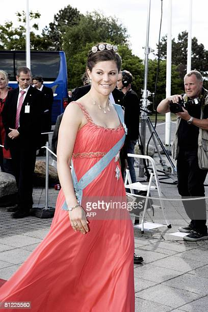 Crown Princess Vicoria of Sweden arrives for the wedding of Prince Joachim of Denmark and France's Marie Cavallier on May 24, 2008 in Moegeltoender...