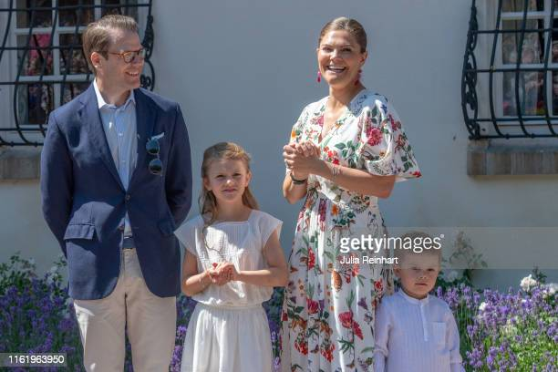Crown Princess Victoria and her family attend The Crown Princess Victoria of Sweden's 42nd birthday celebrations on July 14 2019 at Solliden Palace...