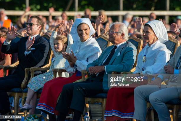 Crown Princess Victoria and her family enjoy the performances during The Crown Princess Victoria of Sweden's 42nd birthday celebrations on July 14,...