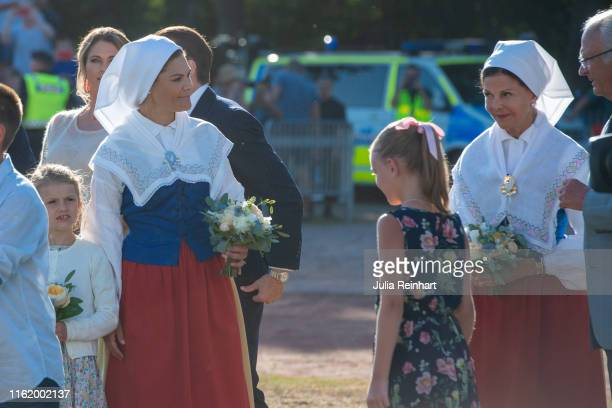 Crown Princess Victoria and her mother Queen Sylvia of Sweden arrive at The Crown Princess Victoria of Sweden's 42nd birthday celebrations on July 14...