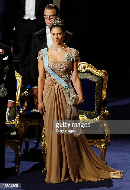 Crown Princess Victoria and Prince Daniel of Sweden attend the annual Nobel Prize Award Ceremony at The Concert Hall on December 10 2010 in Stockholm...