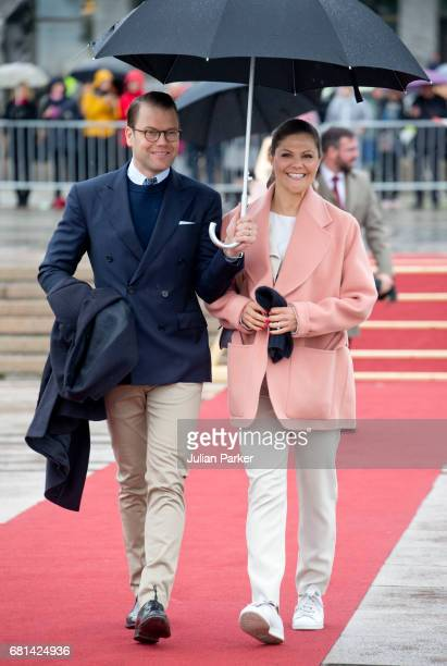 Crown Princess Victoria and Prince Daniel of Sweden leave to attend a lunch on the Norwegian Royal Yacht 'Norge' as part of the celebrations of the...