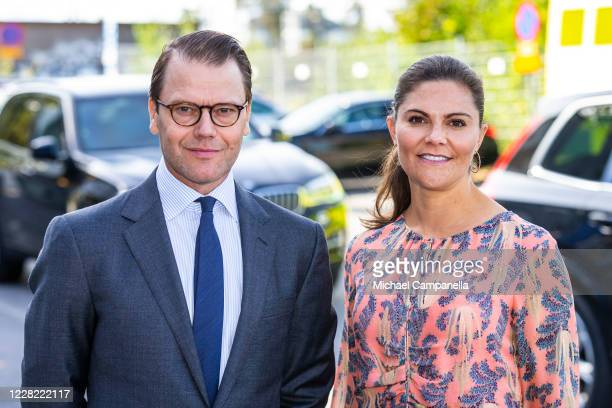 Crown Princess Victoria and Prince Daniel of Sweden visit an ambulance station in the Stockholm suburb of Solna on August 27, 2020 in Stockholm,...
