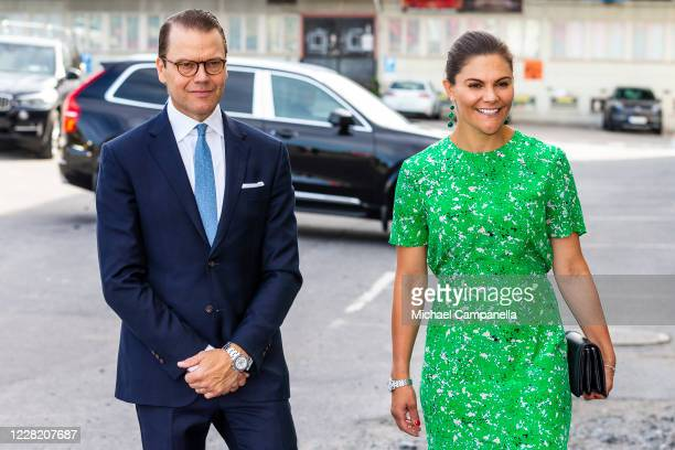 Crown Princess Victoria and Prince Daniel of Sweden visit the artist organization wip:sthlm on August 26, 2020 in Stockholm, Sweden. Wip:sthlm aims...