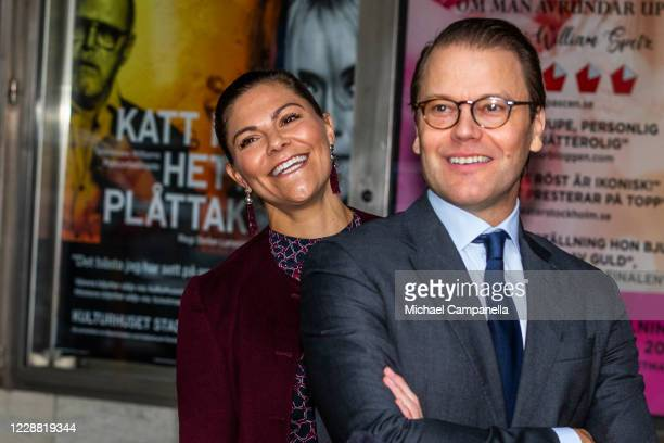 Crown Princess Victoria and Prince Daniel of Sweden visit the Maxim Theater on October 1, 2020 in Stockholm, Sweden. The Maxim Theater is one of the...