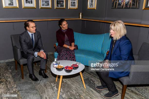 Crown Princess Victoria and Prince Daniel of Sweden visit the Maxim Theater and meet with coowner Agenta Vilman on October 1 2020 in Stockholm Sweden...