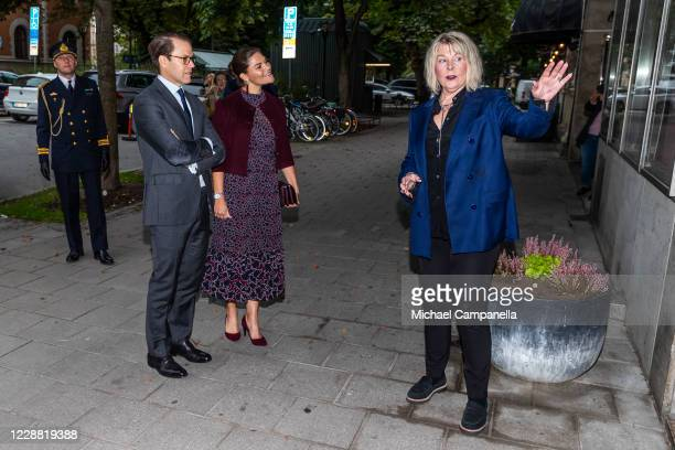 Crown Princess Victoria and Prince Daniel of Sweden visit the Maxim Theater and are greeted by coowner Agenta Vilman on October 1 2020 in Stockholm...