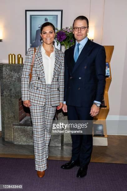 Crown Princess Victoria and Prince Daniel of Sweden visit the Swedish Performing Arts Association on September 10, 2020 in Stockholm, Sweden. Swedish...