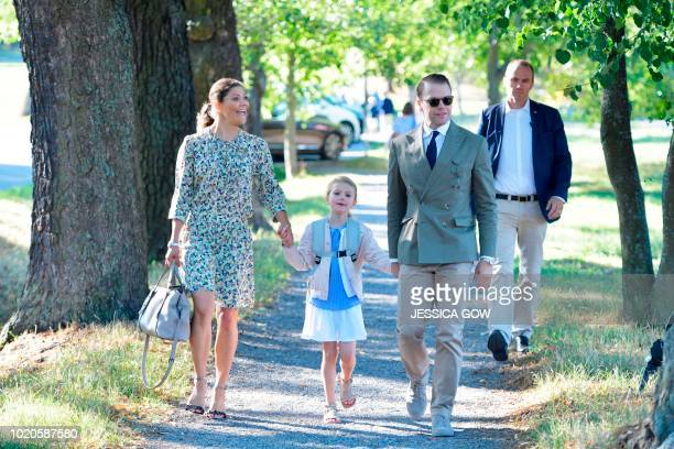 Crown Princess Victoria and Prince Daniel of Sweden walk their daughter Princess Estelle to her school Campus Manilla for her first day at school in...