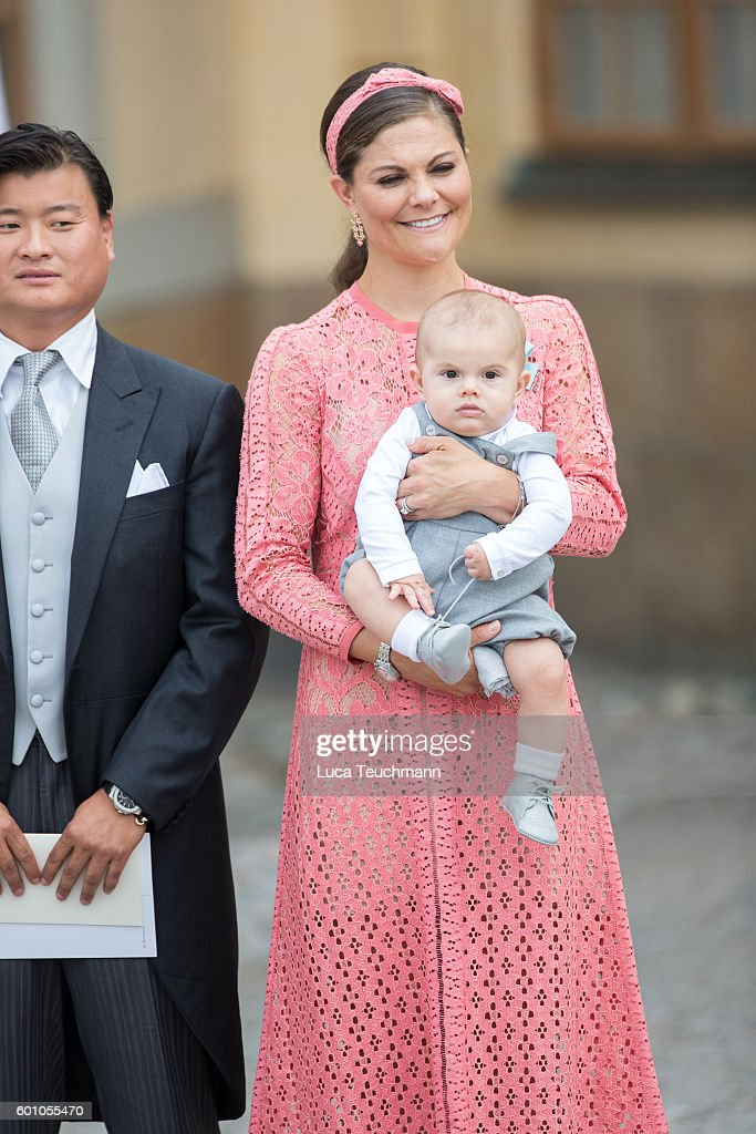 Crown Princess Victoria and Prince Oscar attend the christening of Prince Alexander of Sweden at Drottningholm Palace Chapel on September 9, 2016 in Stockholm, Sweden.