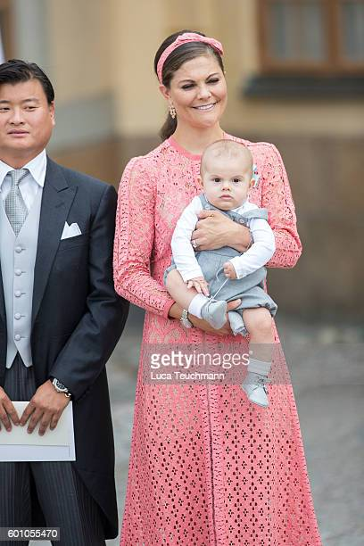 Crown Princess Victoria and Prince Oscar attend the christening of Prince Alexander of Sweden at Drottningholm Palace Chapel on September 9 2016 in...