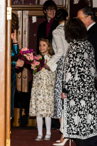Crown Princess Victoria and Princess Estelle of Sweden attend a concert hosted by Lilla Akademien a music school for children at Vasa Theater on...
