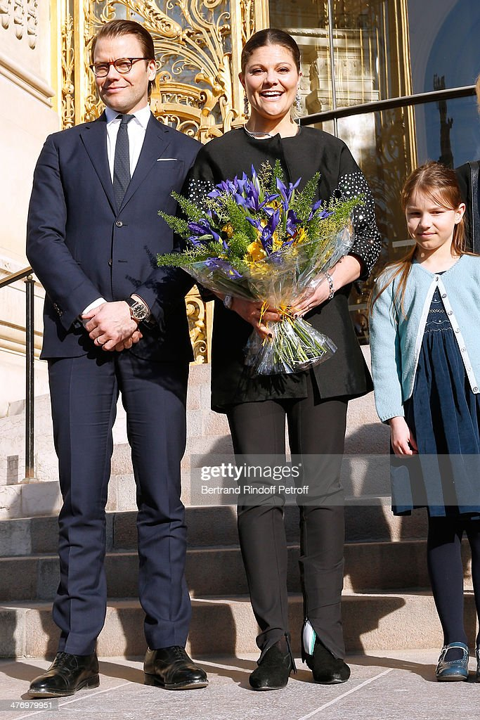 Crown Princess Victoria of Suede and her husband Duke of Vastergotland Daniel Westling open the Contemporary Artist Carl Larsson exhibition at 'Petit Palais' on March 6, 2014 in Paris, France.