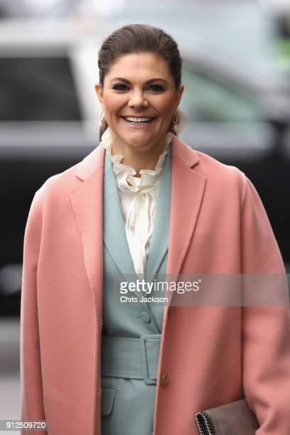 Crown Princess Victoria of Sweden accompanied by Catherine Duchess of Cambridge Prince William Duke of Cambridge and Prince Daniel of Sweden visit...