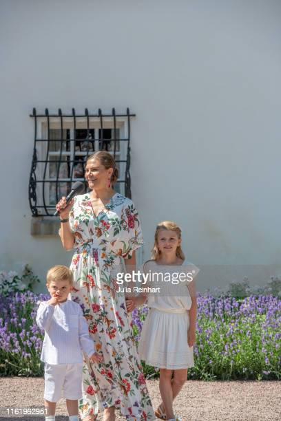 Crown Princess Victoria of Sweden addresses the audience alongside her children Prince Oscar and Princess Estelle during The Crown Princess Victoria...