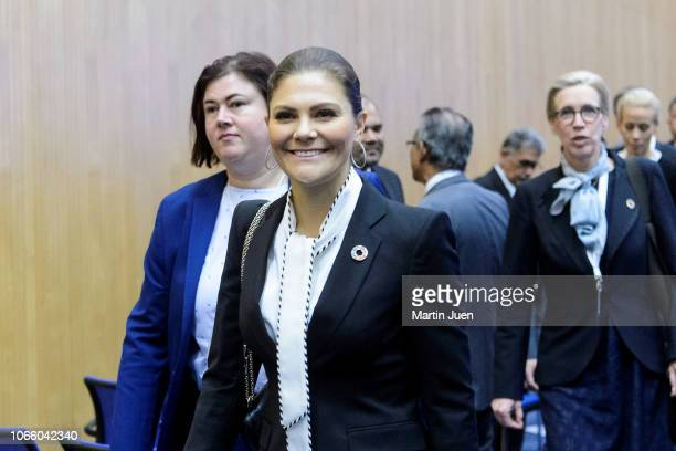Crown Princess Victoria of Sweden addresses the audience with her keynote speech at the Ministerial Conference on Nuclear Science and Technology 2018...