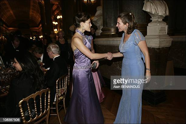 Crown Princess Victoria of Sweden and Adelaide d'Orleans in Versailles France on December 04 2006