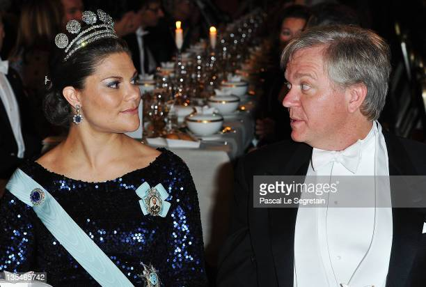 Crown Princess Victoria of Sweden and Australian Nobel Prize for Physics laureate Brian Schmidt attend the Nobel Prize Banquet at Stockholm City Hall...