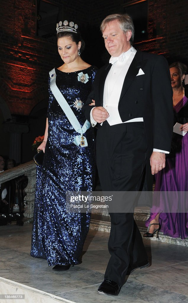 Crown Princess Victoria of Sweden and Australian Nobel Prize for Physics laureate Brian Schmidt arrive for the Nobel Prize Banquet at Stockholm City Hall on December 10, 2011 in Stockholm, Sweden.