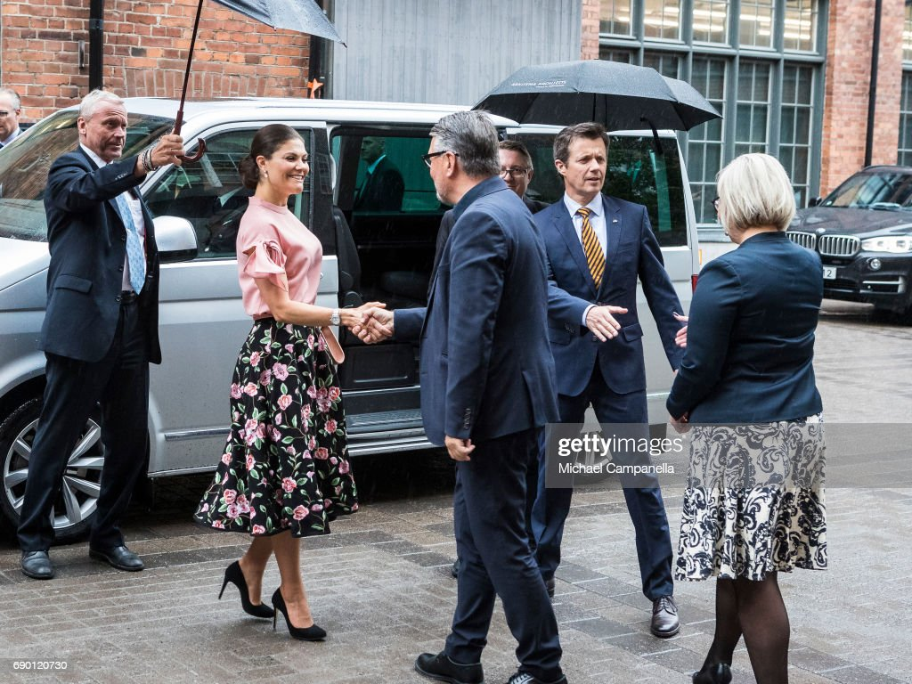 Crown Princess Victoria of Sweden and Crown Prince Frederik of Sweden are seen visiting Arkitema, a danish architecture firm, on May 30, 2017 in Stockholm, Sweden.