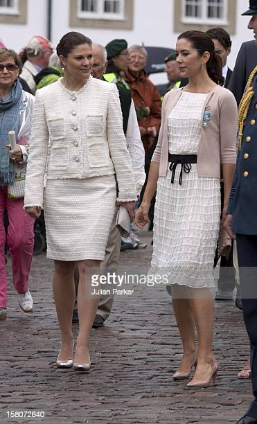Crown Princess Victoria Of Sweden And Crown Princess Mary Of Denmark Watch A Parade At Fredensborg Palace To Celebrate Prince Henriks 75Th Birthday