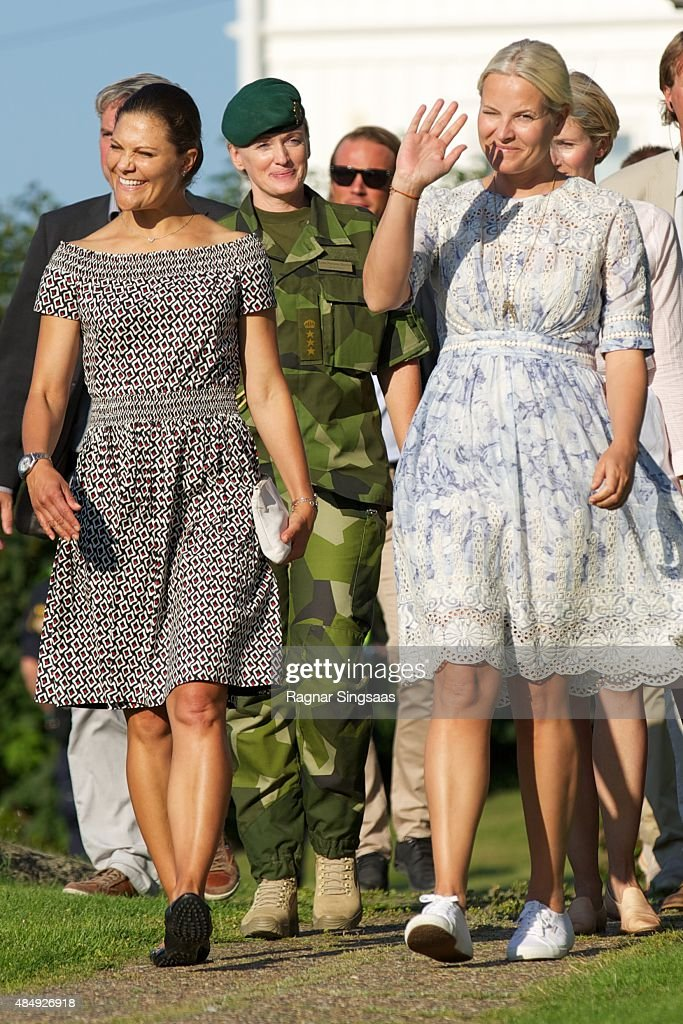 Crown Princess Victoria of Sweden and Crown Princess Mette-Marit of Norway take Part in Climate Pilgrimage on August 22, 2015 in Stromstad, Sweden.