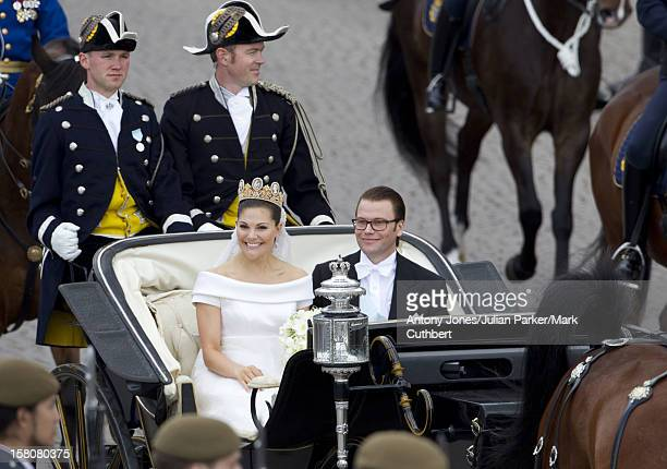 Crown Princess Victoria Of Sweden And Daniel Westling Leave In A Horse And Carriage After Their Wedding At Stockholm Cathedral
