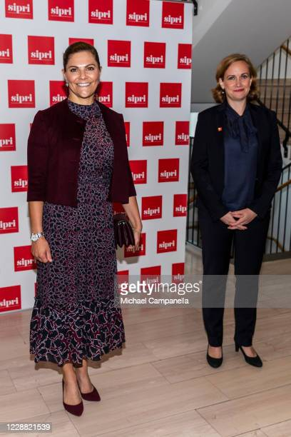 Crown Princess Victoria of Sweden and Dr Tytti Erasto pose for a picture during a visit to the Stockholm International Peace Research Institute on...