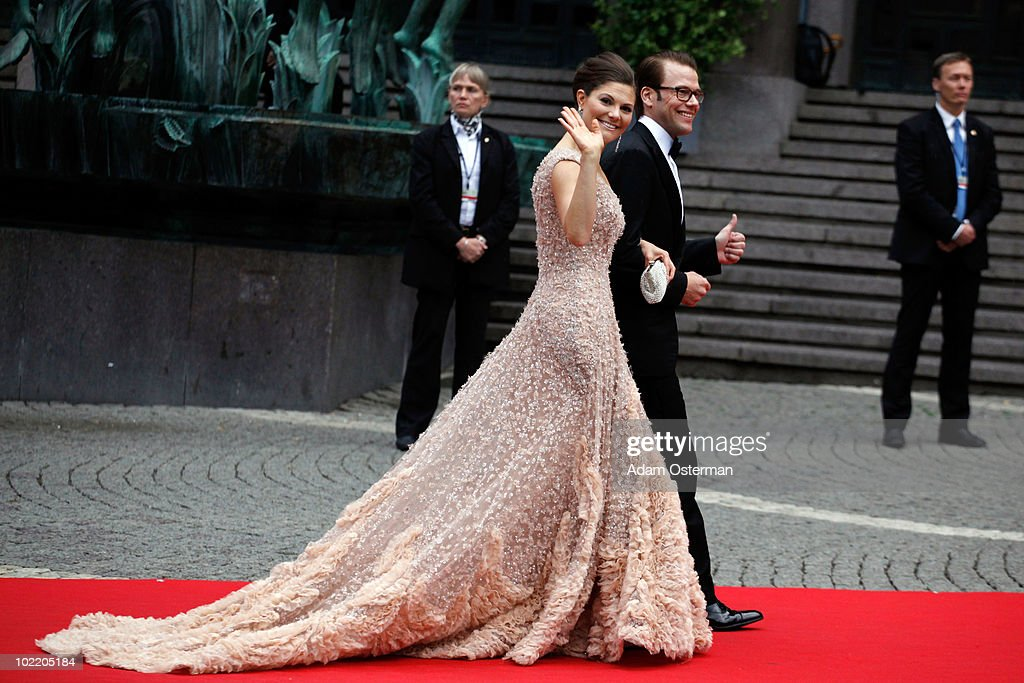 Crown Princess Victoria of Sweden and fiance Daniel Westling arrives to attend the Government Gala Performance for the Wedding of Crown Princess Victoria of Sweden and Daniel Westling at Stockholm Concert Hall on June 18, 2010 in Stockholm, Sweden.