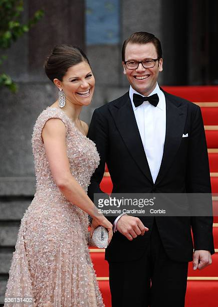 Crown Princess Victoria of Sweden and fiance Daniel Westling arrives to attend the Government Gala Performance for the Wedding of Crown Princess...