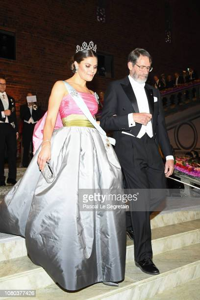 Crown Princess Victoria of Sweden and George P Smith laureate of the Nobel Prize in Chemistry attend the Nobel Prize Banquet 2018 at City Hall on...