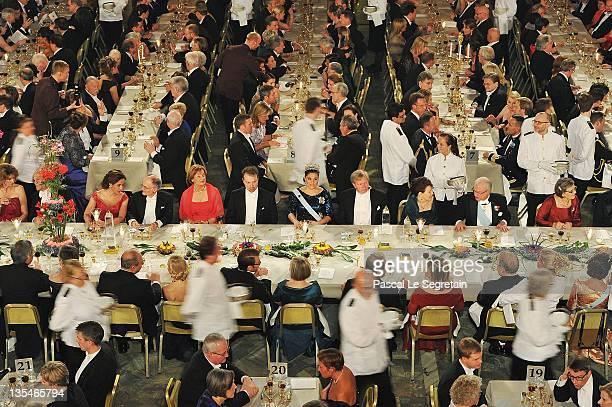Crown Princess Victoria of Sweden and guests are served food at the Nobel Prize Banquet at Stockholm City Hall on December 10 2011 in Stockholm Sweden