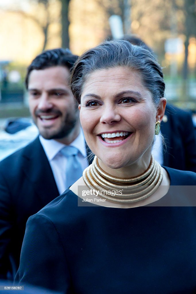 Crown Princess Victoria of Sweden, and her brother Prince Carl Philip of Sweden, arrive for a Concert at the Nordic Museum, on the eve of King Carl Gustaf of Sweden's 70th Birthday, given by The Royal Swedish Opera, and The Stockholm Concert Hall, on April 29, 2016, in Stockholm, Sweden.
