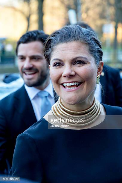 Crown Princess Victoria of Sweden and her brother Prince Carl Philip of Sweden arrive for a Concert at the Nordic Museum on the eve of King Carl...